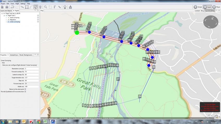 Данные облёта в Geoscan Planner