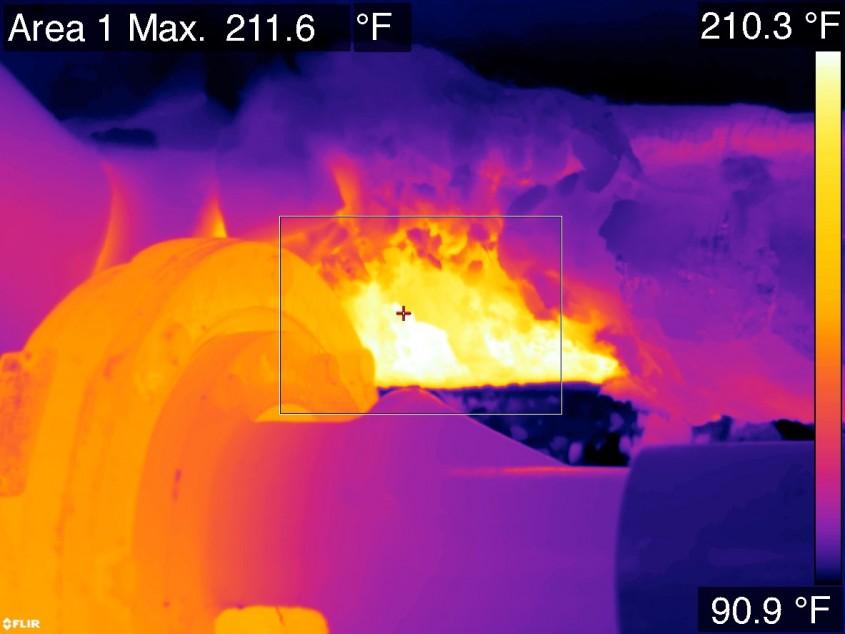 Термограмма повреждения изоляции труб